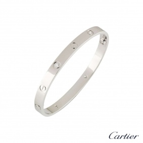 Cartier White Gold Half Diamond Love Bangle Size 19 B6035819